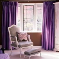 Paarse woonkamer - Gordijnen interieur decoratie ...